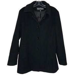 Marvin Richards Wool Black Coat Size Large